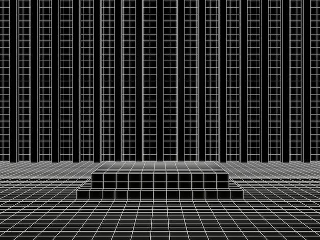 3d-weergave. zwart-witte geometrische rasterproductstandaard.