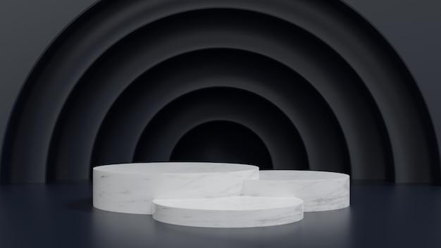 3d weergegeven. marmeren voetstuk voor display, voetstuk of platform, blank product stand.