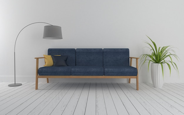 3d weergegeven van interieur moderne woonkamer met grijze houten sofacouch en lamp realistisch
