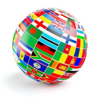 3d-wereld bol met vlaggen van de wereld