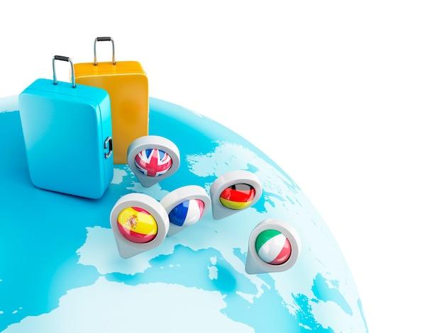 3d-wereldbol met kaartaanwijzers en koffer.