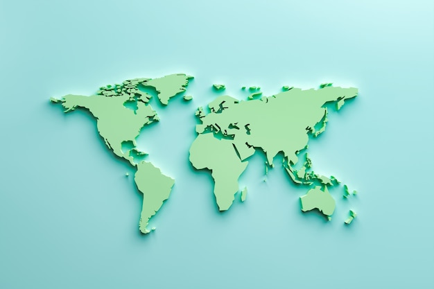 3d-wereldkaart op blauwe achtergrond