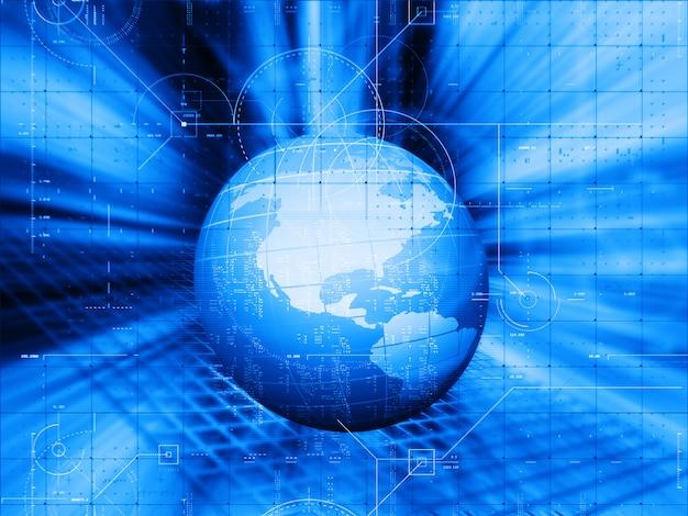 3d-wereldwijde technologieontwerp achtergrond