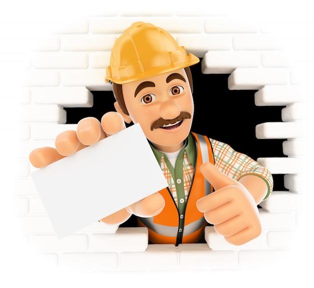 3d-werknemer komt uit een gat in de muur met een lege kaart