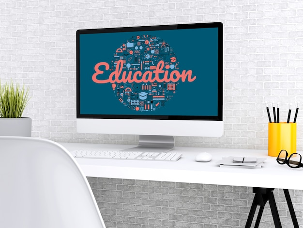 3d werkruimte van de student met computer