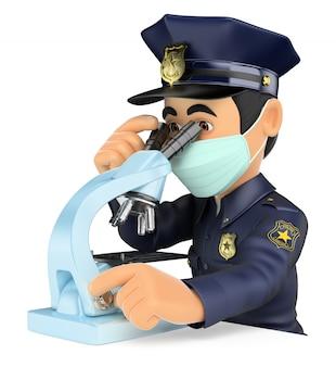 3d wetenschappelijke politie die forensisch bewijs analyseert met een microscoop