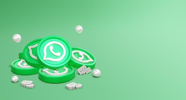 3d whatsapp social media-logo's met muntmodel en chatpictogram