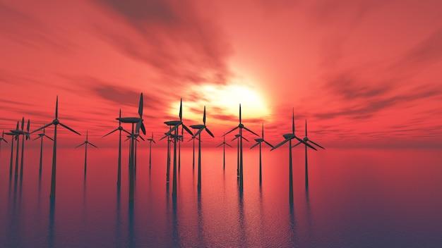 3d windturbines in het overzees tegen een zonsonderganghemel