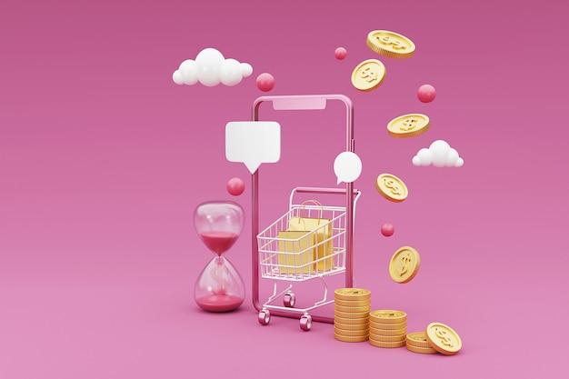 3d winkelen online concept met winkelwagentje, geld en mobiele telefoon. 3d-weergave.