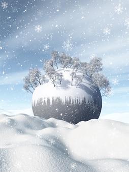 3d winterlandschap met sneeuwbol genesteld in sneeuw