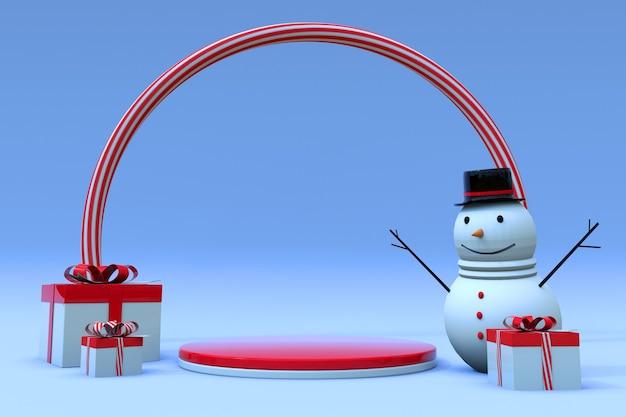 3d-winterscène met ronde podiumgeschenkdoos en sneeuwpopvoetstuk voor kerst- en nieuwjaarsvakantie