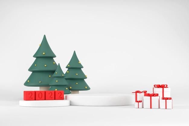 3d. wit podium voor het uitstallen van producten voor 2020 en kerstbomen. met geschenkdoos