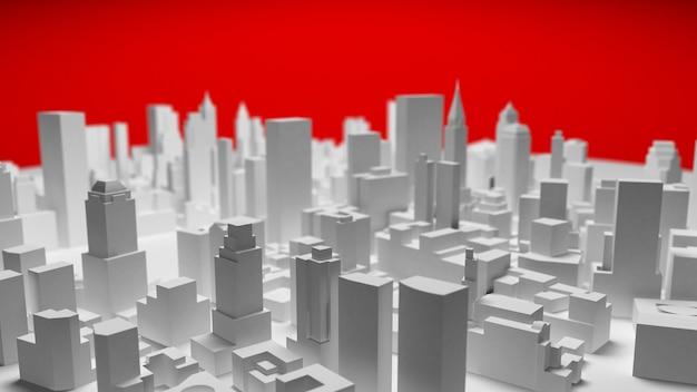 3d wit stadspanorama dat op rode achtergrond wordt geïsoleerd. 3d-rendering.
