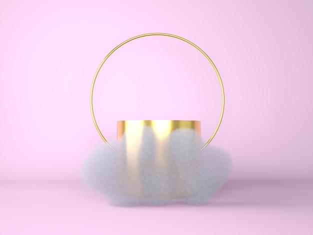 3d-witte cumulus of wolk die rond het ronde podium, het lege podium, het cilindervoetstuk zweeft. 3d-afbeelding.