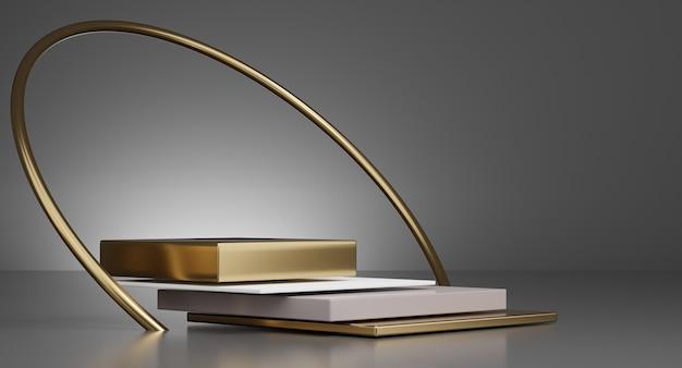 3d witte en gouden minimale podia, sokkels, treden op de achtergrond en een rond gouden frame. bespotten. 3d-weergave.