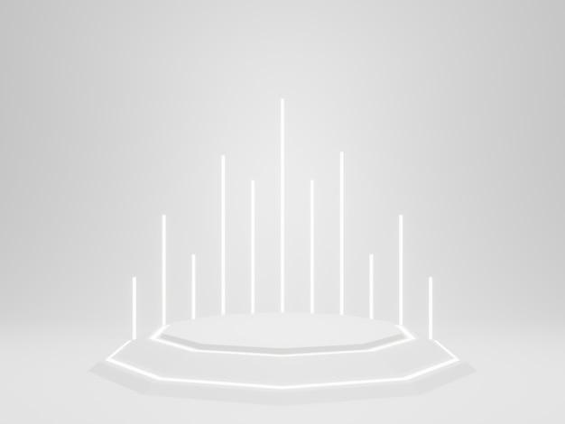3d-witte futuristische productstandaard met neonlicht