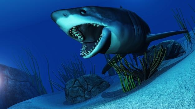 3d witte haai die in oceaan zwemt