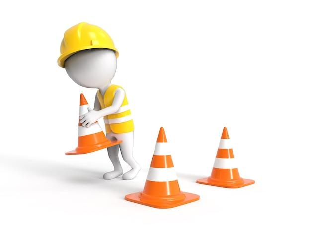 3d witte kleine arbeider in helm met bouwkegels