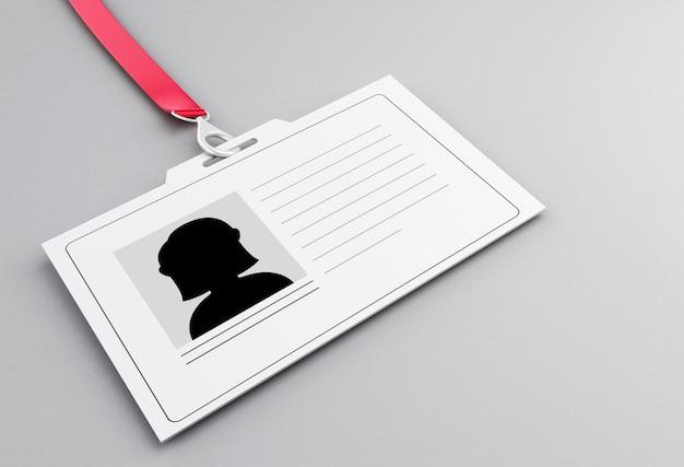 3d-witte kunststof id-badge met sleutelkoord