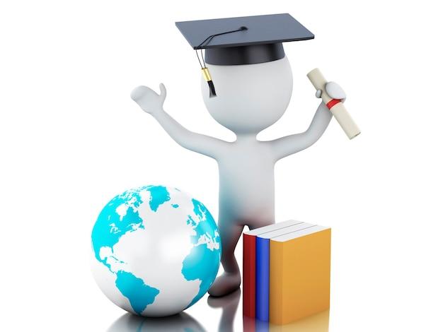 3d witte mensen behalen diploma, afstuderen glb af.