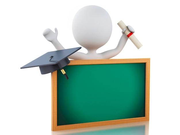 3d witte mensen behalen diploma, afstuderen glb en bord.