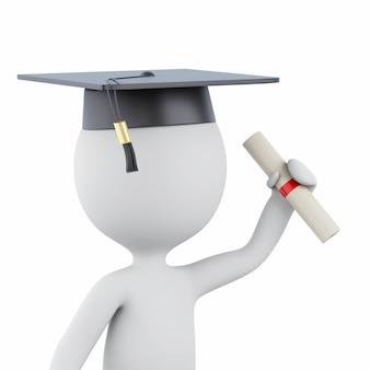 3d witte mensen behalen diploma en graduatie glb een diploma