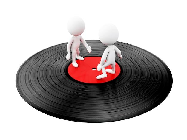 3d-witte mensen dansen op vinyl disc