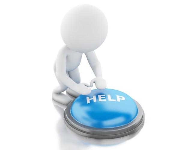 3d-witte mensen drukken op help-knop.