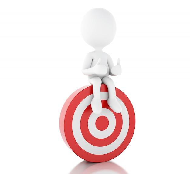 3d-witte mensen en rode doelwit. succes in het bedrijfsleven.