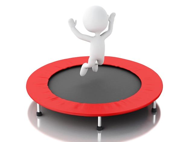 3d witte mensen, gelukkig springen voor het succes in de trampoline.