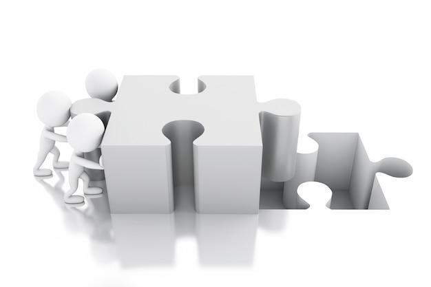 3d-witte mensen het oplossen van een puzzel