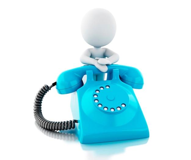 3d-witte mensen met blauwe oude telefoon.