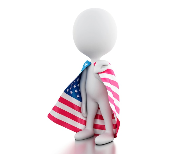 3d-witte mensen met de vlag van de verenigde staten.