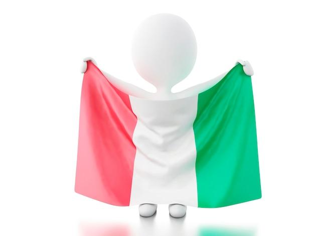3d-witte mensen met de vlag van italië.