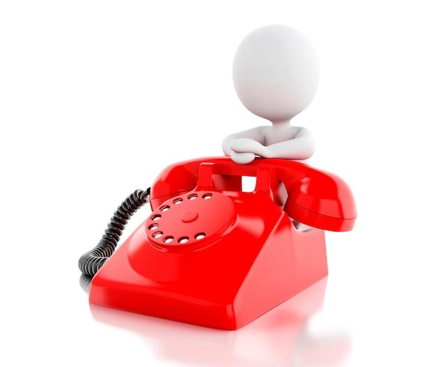 3d-witte mensen met rode oude telefoon.