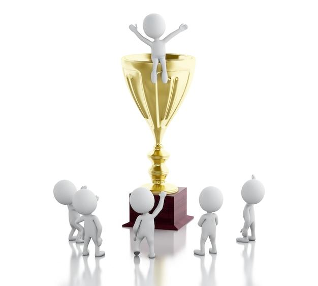 3d-witte mensen op de top van de trofee. succes concept.
