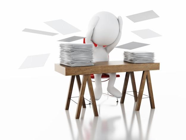 3d-witte mensen overwerkt met stapel documenten.