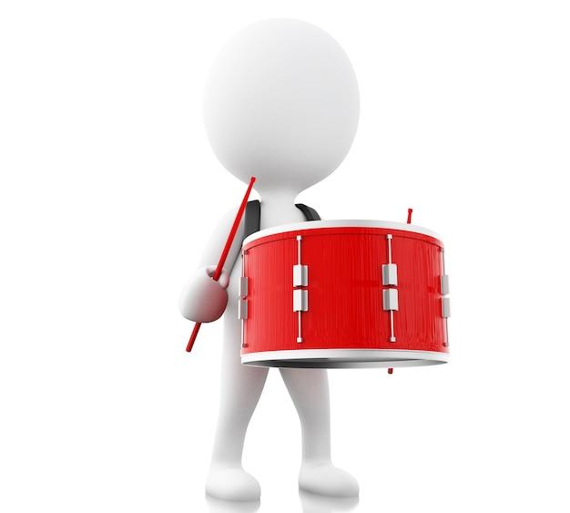 3d witte mensen spelen de trommel met drumsticks