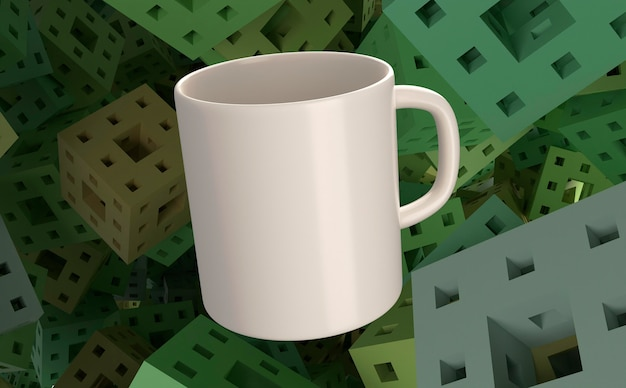 3d-witte mok en groene vierkante achtergrond