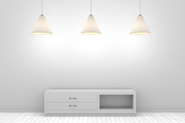 3d witte muur met plank en lamp drie
