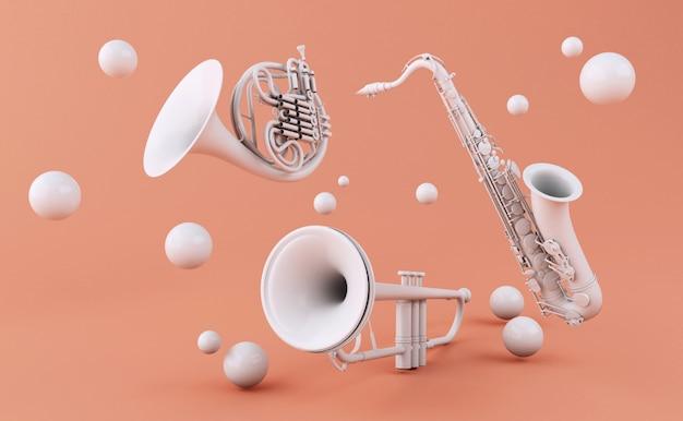 3d-witte muziekinstrumenten