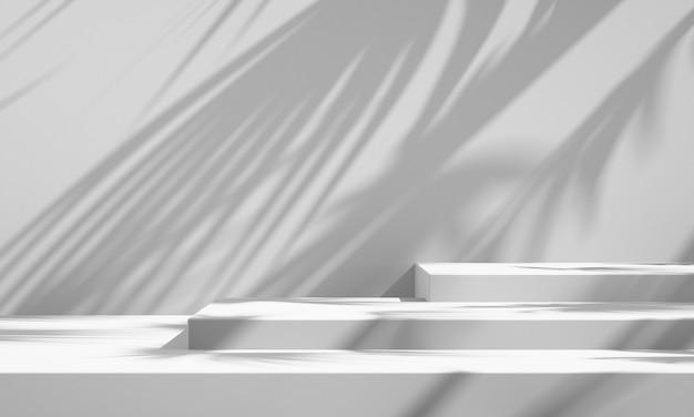 3d witte productpodiumvertoning met witte achtergrond en boomschaduw, de mockupachtergrond van het zomerproduct, 3d renderillustratie