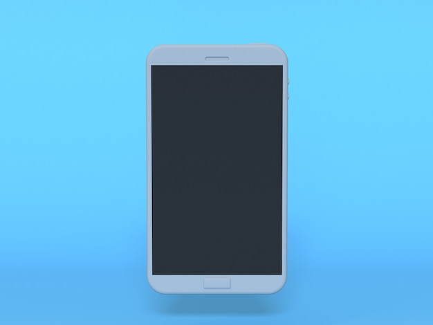 3d witte slimme telefoon bespot omhoog zwarte 3d vertonings blauwe achtergrond