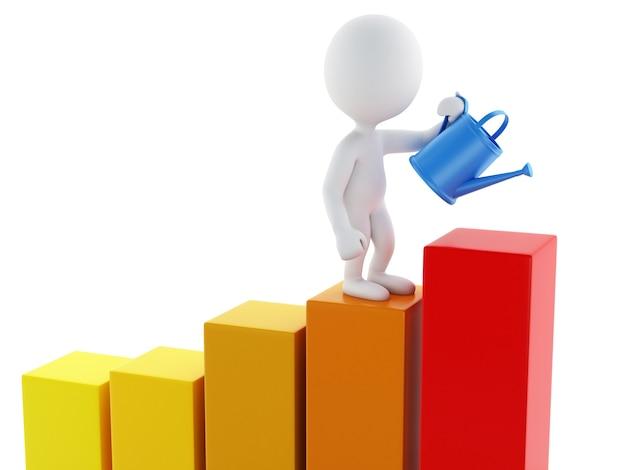 3d-witte zakenmensen drenken een statistiek grafiek