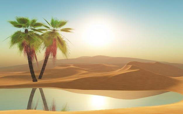 3d-woestijn en palmbomen