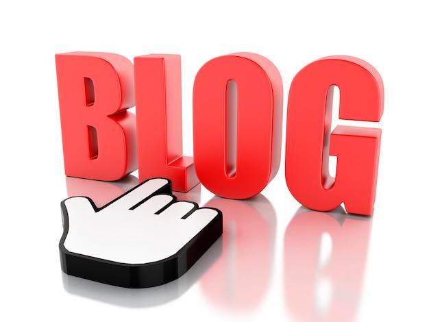 3d word-blog met muiscursor
