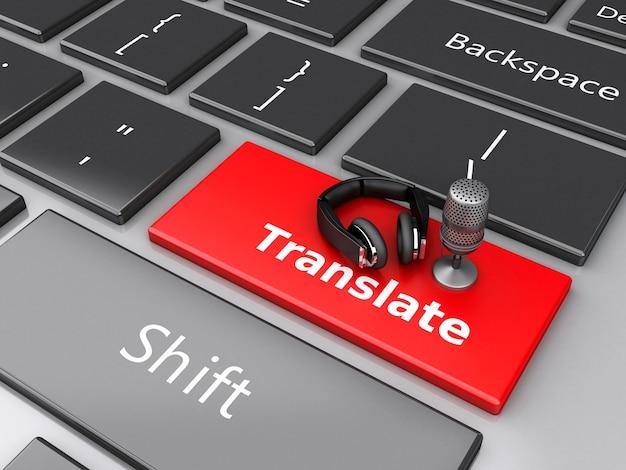 3d word vertaalt met mic en hoofdtelefoons op computertoetsenbord.