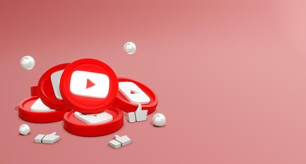 3d youtube-logo's voor sociale media met muntmodel en like-pictogram