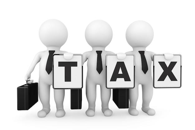 3d-zakenlieden met belastingteken op een witte achtergrond