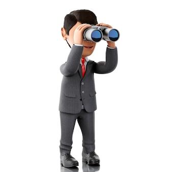 3d zakenman die door verrekijkers kijkt.